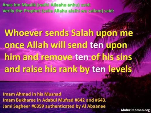Allaah bless him 10 times, 10 sins forgiven, raise rank by 10 levels