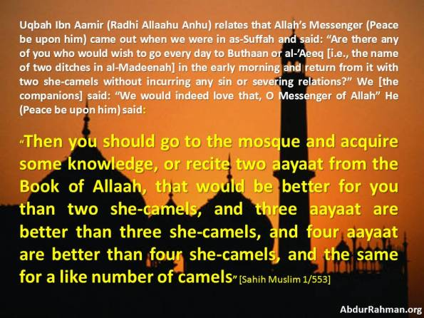 Reciting two aayaat from the Book of Allaah better for you than two she-camels