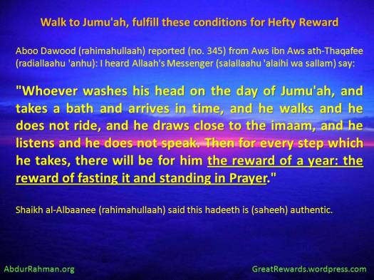 Walk to Jumu'ah, fulfill these conditions for Hefty Reward