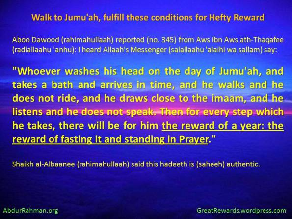 Walk to Jumu'ah, fulfill these conditions for Hefty Reward