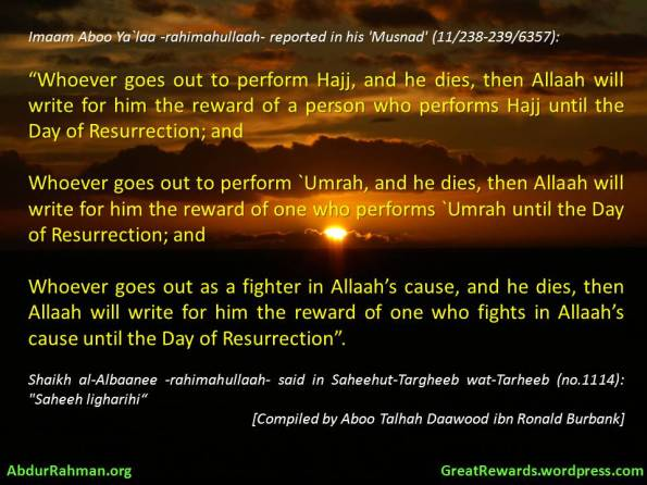 WHOEVER DIES PERFORMING HAJJ