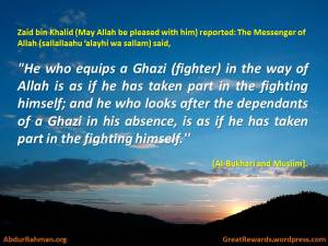 He who equips a Ghazi (fighter)