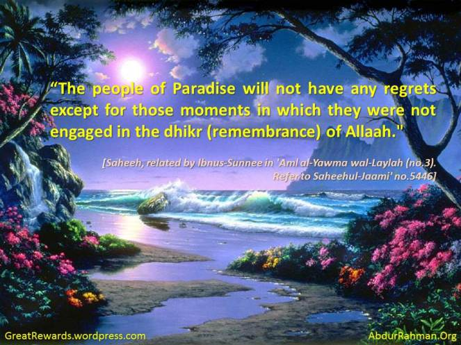 """The people of Paradise will not have any regrets except for those moments in which they were not engaged in the dhikr (remembrance) of Allaah."""