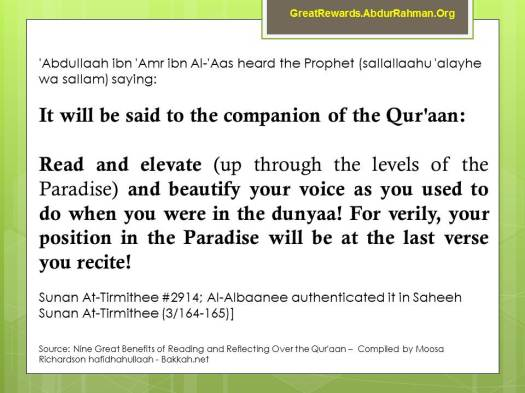 Your position in Paradise is determined by the amount of Qur'aan you memorize