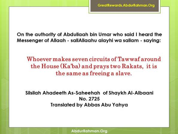 Reward of Tawaf and two Rakah Prayer behind Sttaion of Ibraaheem