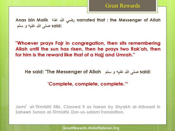 Reward like that of a Hajj and Umrah