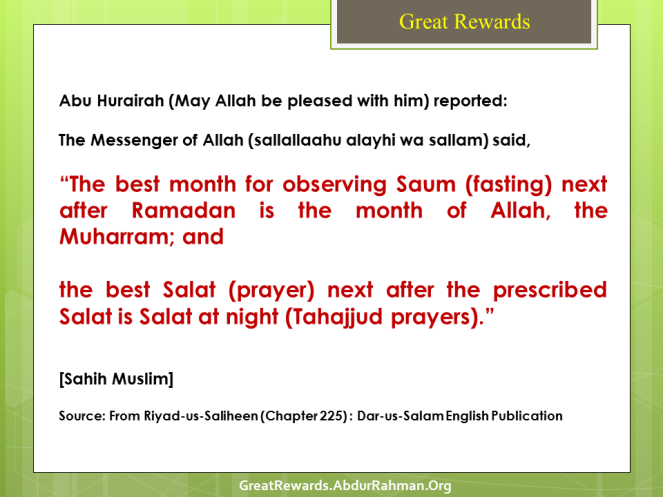 The best month for observing Saum (fasting) next after Ramadan